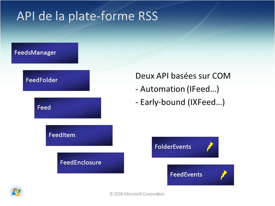 © 2006 Microsoft Corporation. API de la plate-forme RSS Deux API basées sur COM - Automation (IFeed…) - Early-bound (IXFeed…) FeedsManager Feed FeedFo