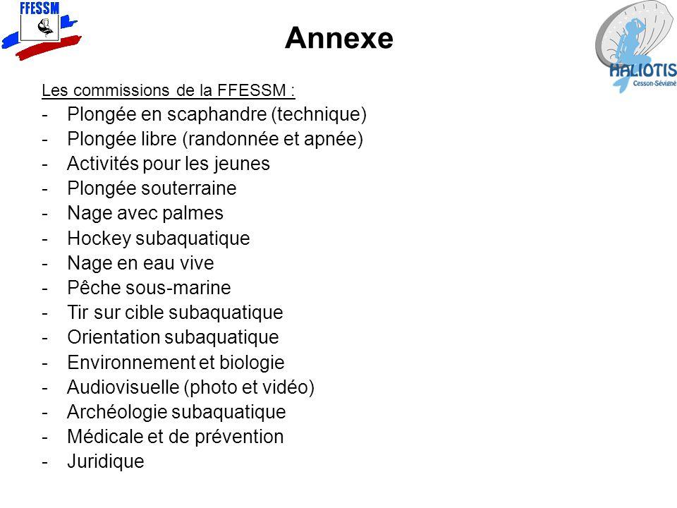 Annexe Les commissions de la FFESSM : -Plongée en scaphandre (technique) -Plongée libre (randonnée et apnée) -Activités pour les jeunes -Plongée soute
