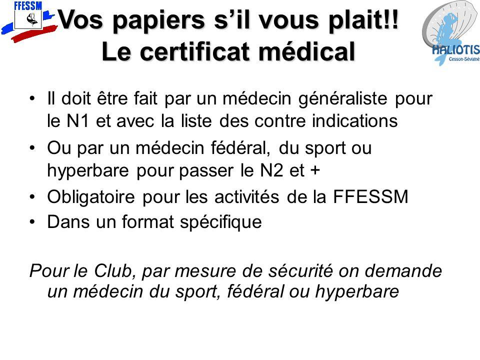 Vos papiers s'il vous plait!! Le certificat médical Il doit être fait par un médecin généraliste pour le N1 et avec la liste des contre indications Ou