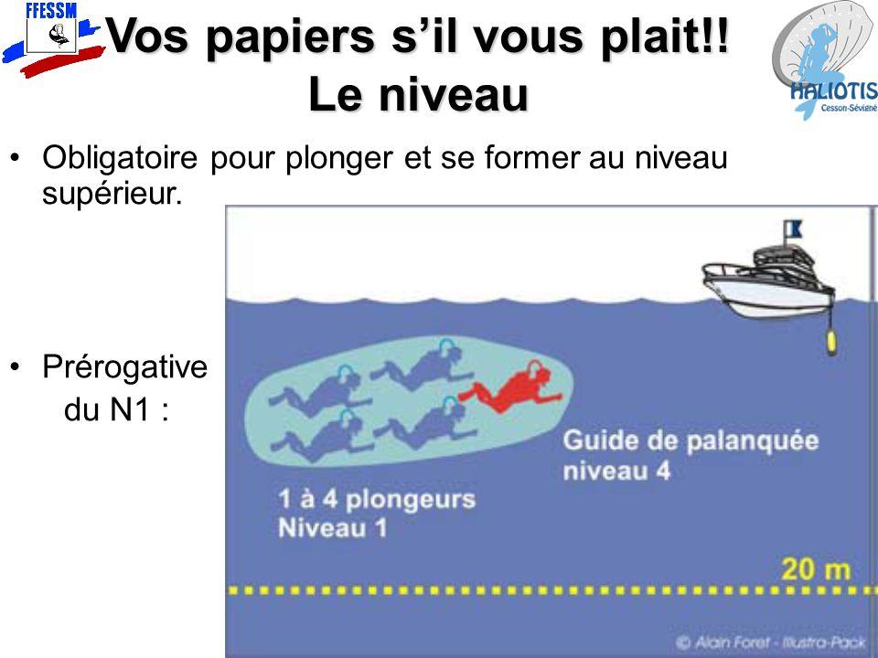 Vos papiers s'il vous plait!! Le niveau Obligatoire pour plonger et se former au niveau supérieur. Prérogative du N1 :