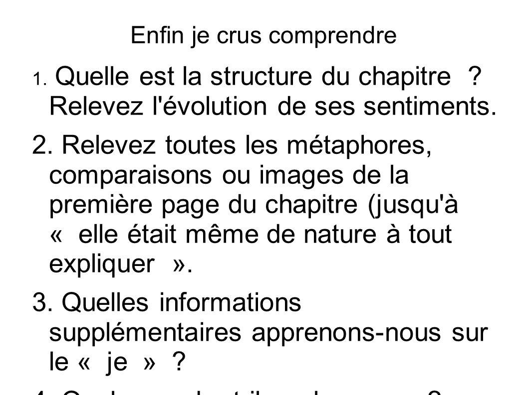 Enfin je crus comprendre 1. Quelle est la structure du chapitre ? Relevez l'évolution de ses sentiments. 2. Relevez toutes les métaphores, comparaison