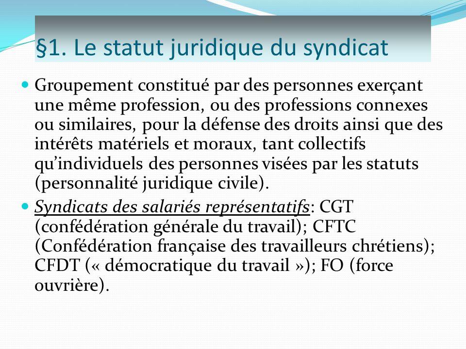 §1. Le statut juridique du syndicat Groupement constitué par des personnes exerçant une même profession, ou des professions connexes ou similaires, po