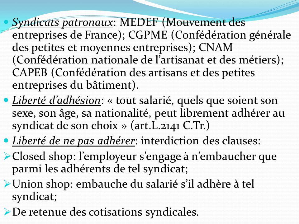 Syndicats patronaux: MEDEF (Mouvement des entreprises de France); CGPME (Confédération générale des petites et moyennes entreprises); CNAM (Confédérat