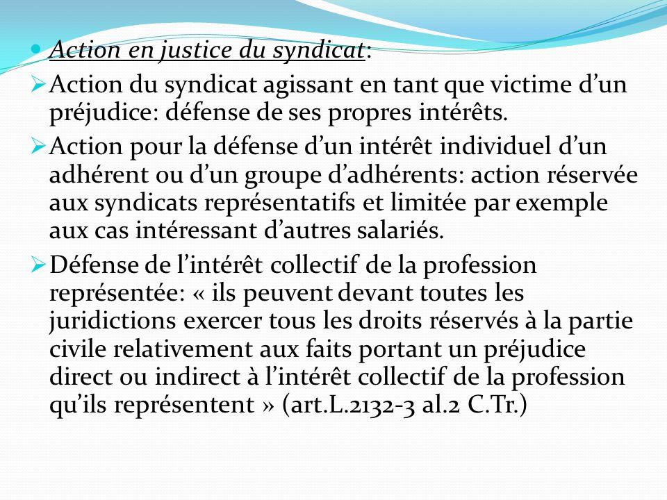 Action en justice du syndicat:  Action du syndicat agissant en tant que victime d'un préjudice: défense de ses propres intérêts.  Action pour la déf