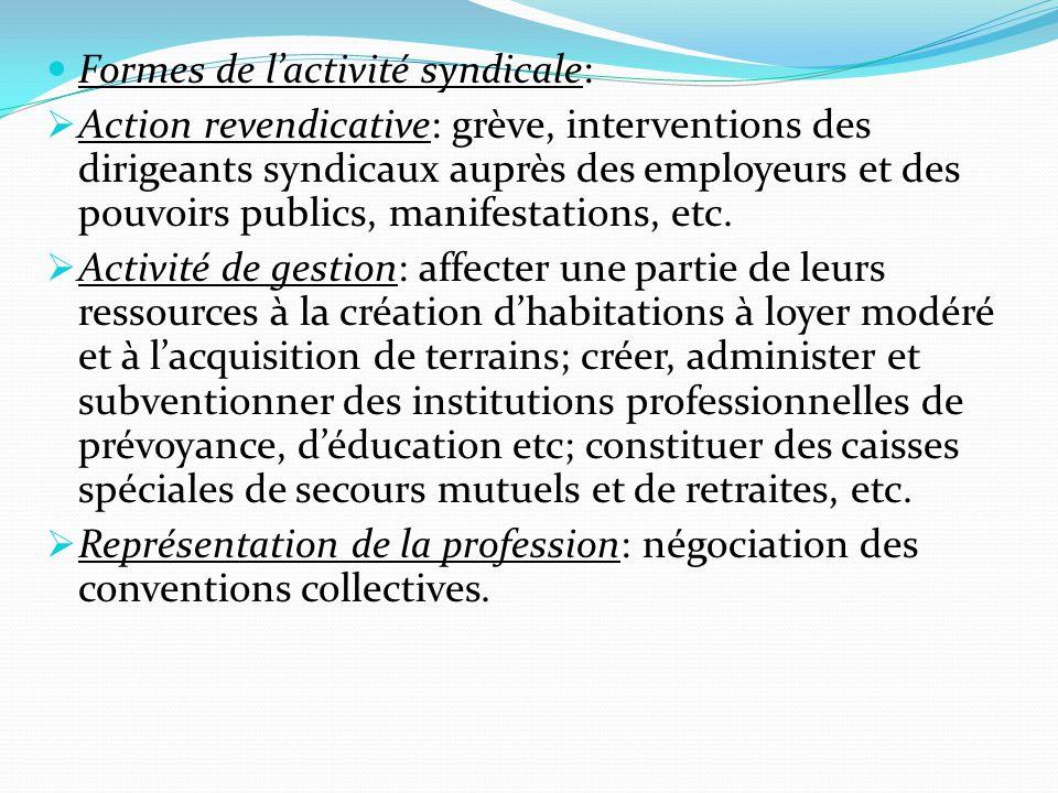 Formes de l'activité syndicale:  Action revendicative: grève, interventions des dirigeants syndicaux auprès des employeurs et des pouvoirs publics, manifestations, etc.