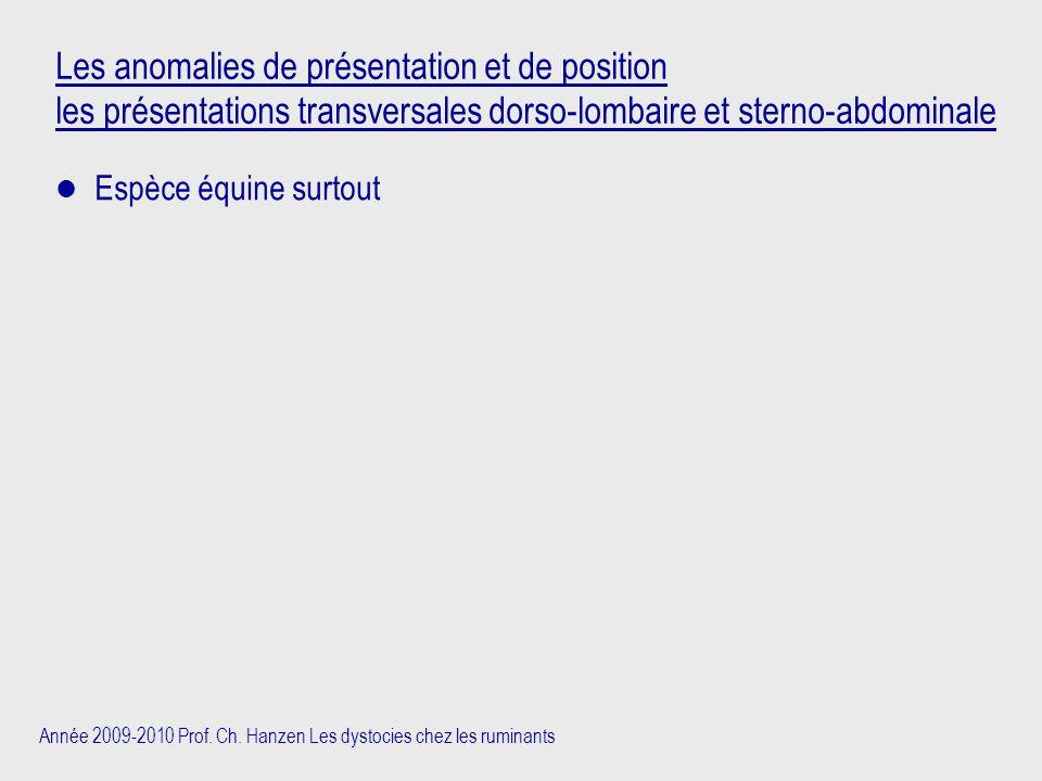 Année 2009-2010 Prof. Ch. Hanzen Les dystocies chez les ruminants Les anomalies de présentation et de position les présentations transversales dorso-l