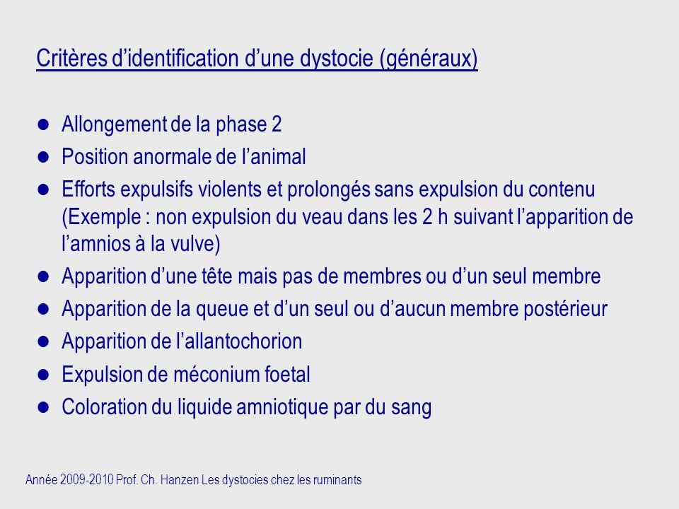 Année 2009-2010 Prof. Ch. Hanzen Les dystocies chez les ruminants Critères d'identification d'une dystocie (généraux) Allongement de la phase 2 Positi