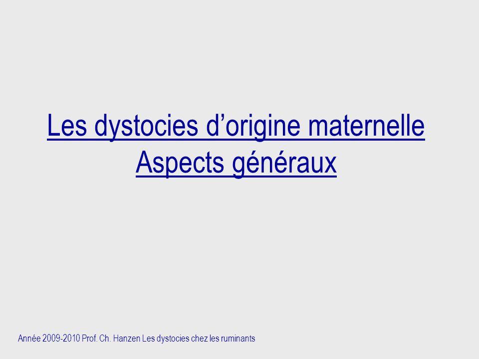 Année 2009-2010 Prof. Ch. Hanzen Les dystocies chez les ruminants Les dystocies d'origine maternelle Aspects généraux
