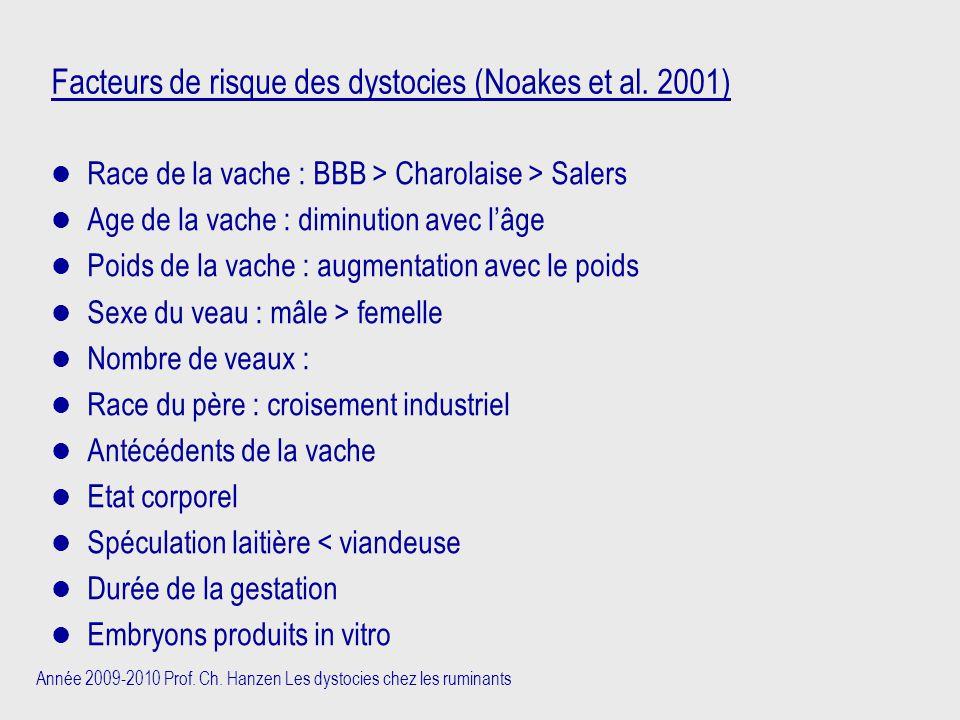 Année 2009-2010 Prof. Ch. Hanzen Les dystocies chez les ruminants Facteurs de risque des dystocies (Noakes et al. 2001) Race de la vache : BBB > Charo