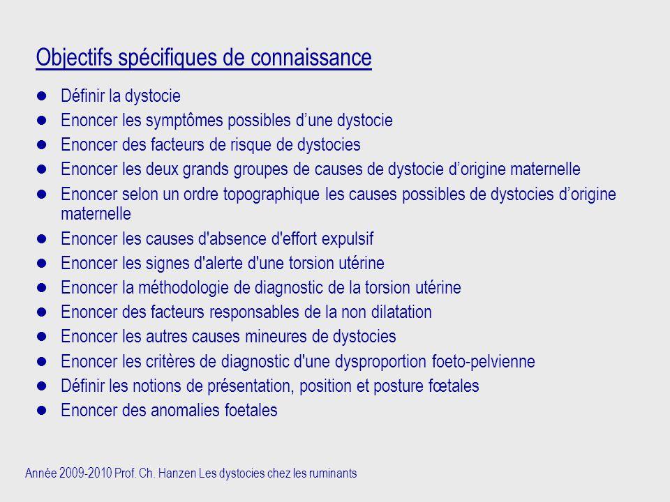 Année 2009-2010 Prof. Ch. Hanzen Les dystocies chez les ruminants Objectifs spécifiques de connaissance Définir la dystocie Enoncer les symptômes poss