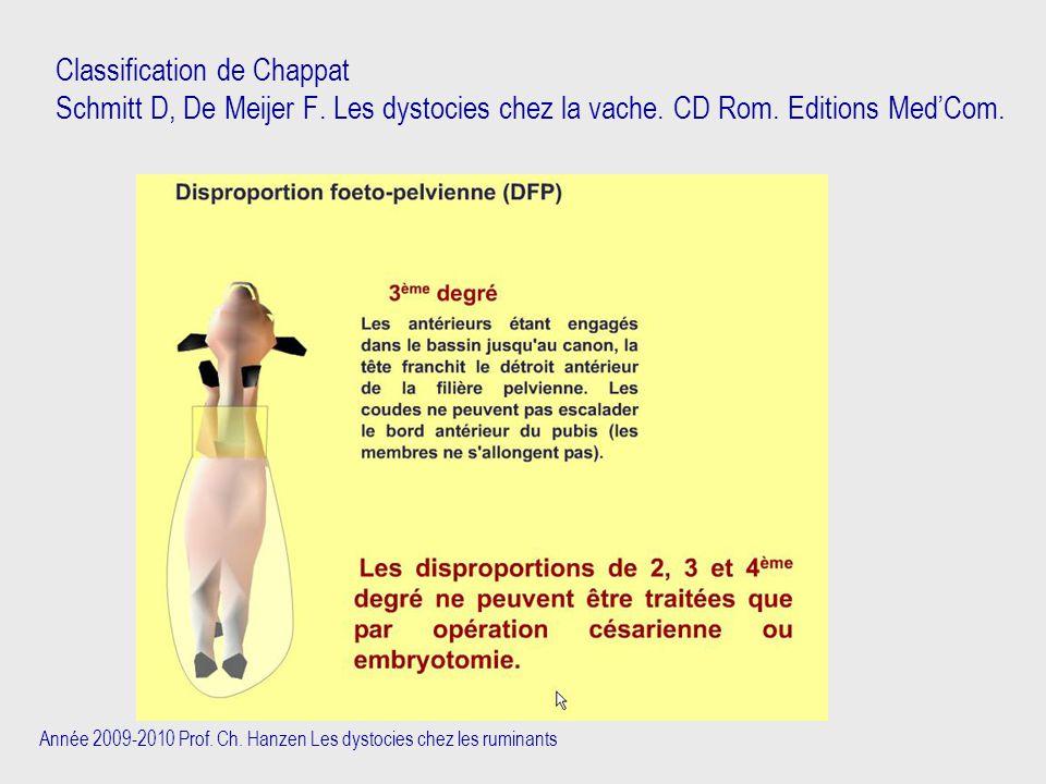 Année 2009-2010 Prof. Ch. Hanzen Les dystocies chez les ruminants Classification de Chappat Schmitt D, De Meijer F. Les dystocies chez la vache. CD Ro