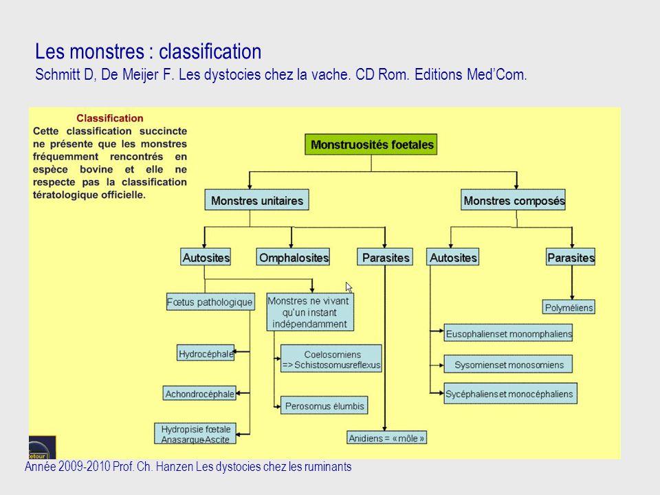 Année 2009-2010 Prof. Ch. Hanzen Les dystocies chez les ruminants Les monstres : classification Schmitt D, De Meijer F. Les dystocies chez la vache. C