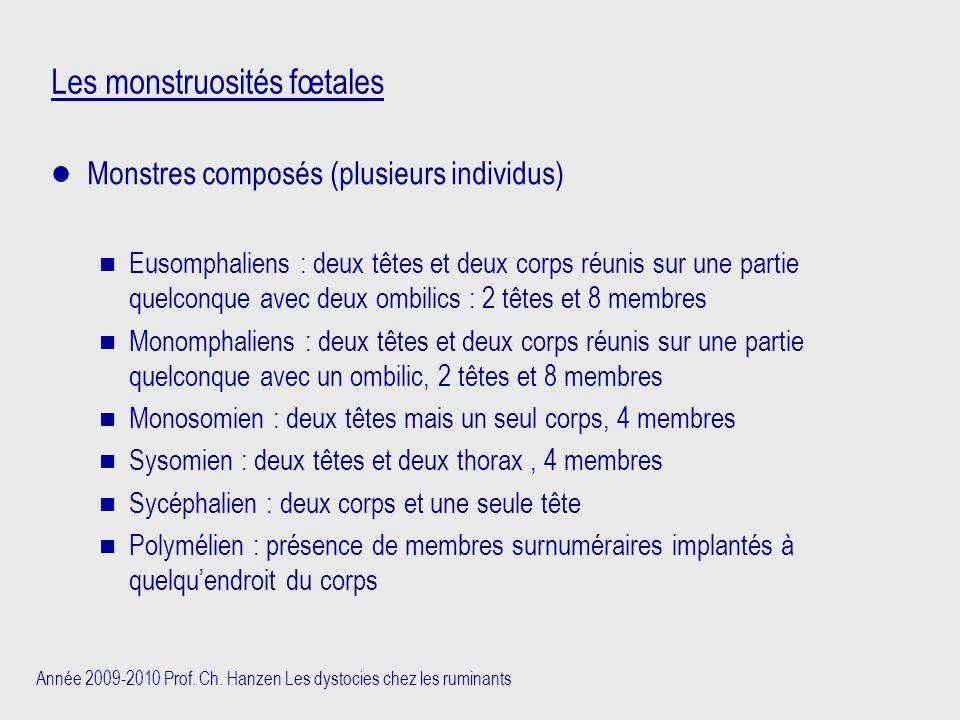 Année 2009-2010 Prof. Ch. Hanzen Les dystocies chez les ruminants Les monstruosités fœtales Monstres composés (plusieurs individus) n Eusomphaliens :