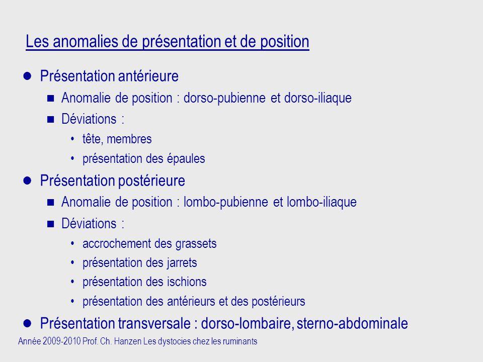Année 2009-2010 Prof. Ch. Hanzen Les dystocies chez les ruminants Les anomalies de présentation et de position Présentation antérieure n Anomalie de p