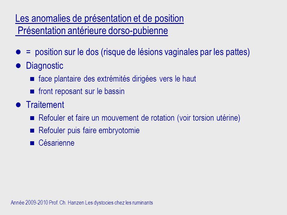 Année 2009-2010 Prof. Ch. Hanzen Les dystocies chez les ruminants Les anomalies de présentation et de position Présentation antérieure dorso-pubienne