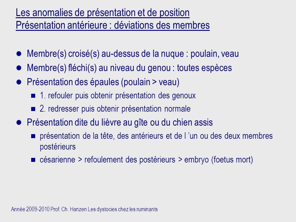 Année 2009-2010 Prof. Ch. Hanzen Les dystocies chez les ruminants Les anomalies de présentation et de position Présentation antérieure : déviations de