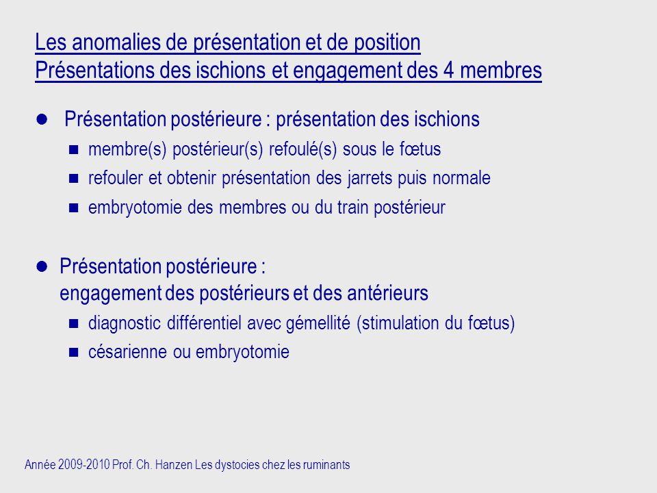 Année 2009-2010 Prof. Ch. Hanzen Les dystocies chez les ruminants Les anomalies de présentation et de position Présentations des ischions et engagemen