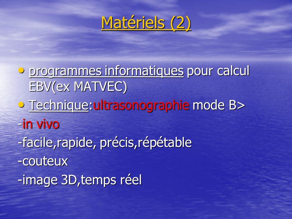 Matériels (2) programmes informatiques pour calcul EBV(ex MATVEC) programmes informatiques pour calcul EBV(ex MATVEC) Technique:ultrasonographie mode