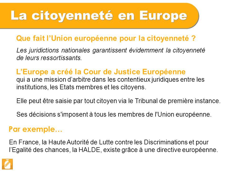 La citoyenneté en Europe L'Europe a créé la Cour de Justice Européenne Par exemple… En France, la Haute Autorité de Lutte contre les Discriminations e