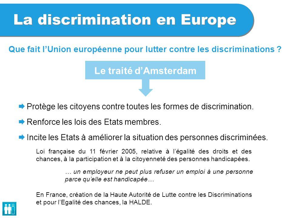 La discrimination en Europe Que fait l'Union européenne pour lutter contre les discriminations ?  Protège les citoyens contre toutes les formes de di