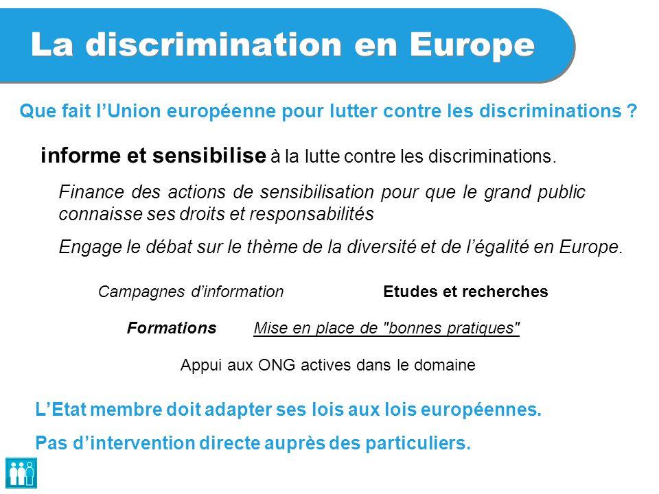La discrimination en Europe informe et sensibilise à la lutte contre les discriminations. Finance des actions de sensibilisation pour que le grand pub