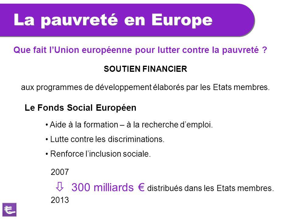 La pauvreté en Europe aux programmes de développement élaborés par les Etats membres. SOUTIEN FINANCIER Le Fonds Social Européen Aide à la formation –