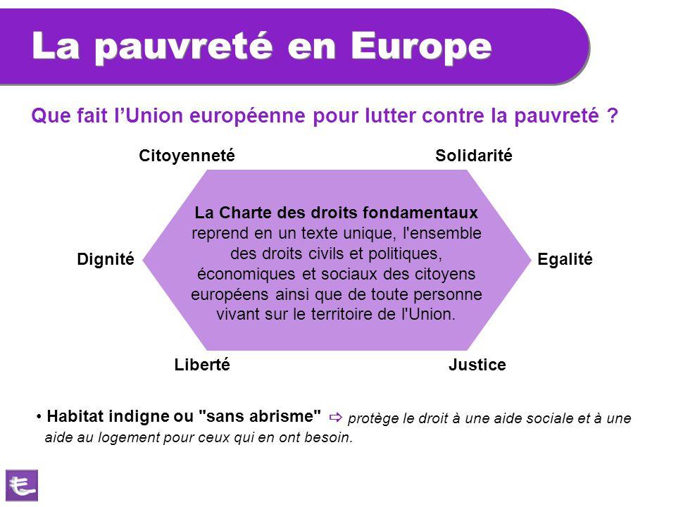 La pauvreté en Europe Solidarité La Charte des droits fondamentaux reprend en un texte unique, l'ensemble des droits civils et politiques, économiques