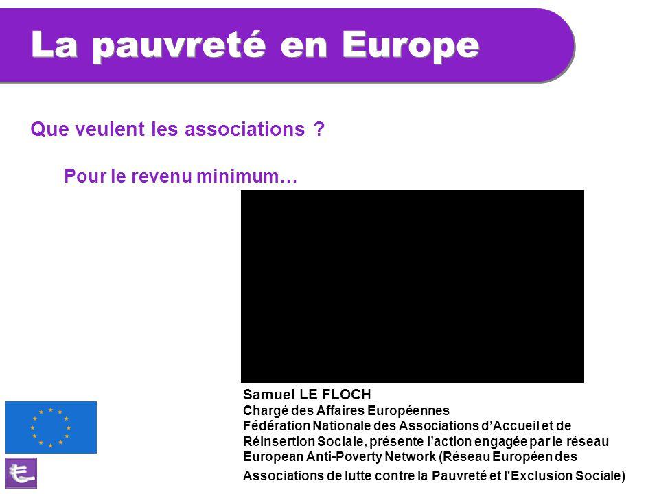 Que veulent les associations ? Pour le revenu minimum… Samuel LE FLOCH Chargé des Affaires Européennes Fédération Nationale des Associations d'Accueil