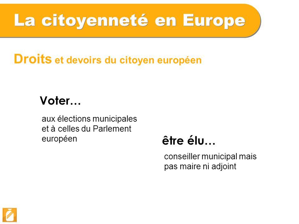 La citoyenneté en Europe Droits et devoirs du citoyen européen Voter… aux élections municipales et à celles du Parlement européen être élu… conseiller