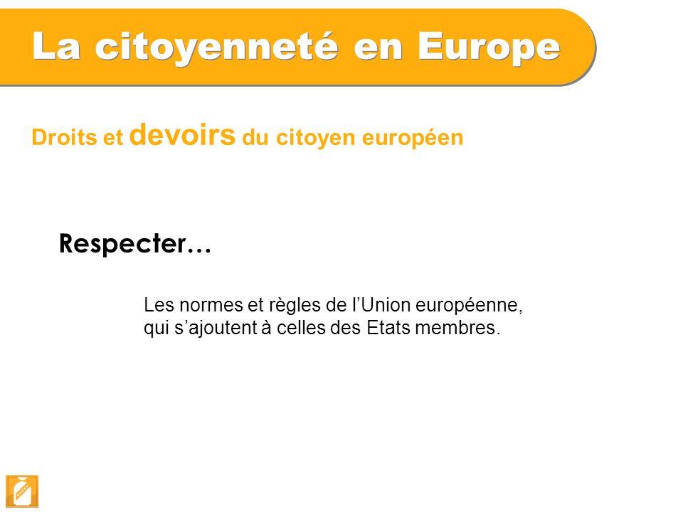 La citoyenneté en Europe Droits et devoirs du citoyen européen Respecter… Les normes et règles de l'Union européenne, qui s'ajoutent à celles des Etat