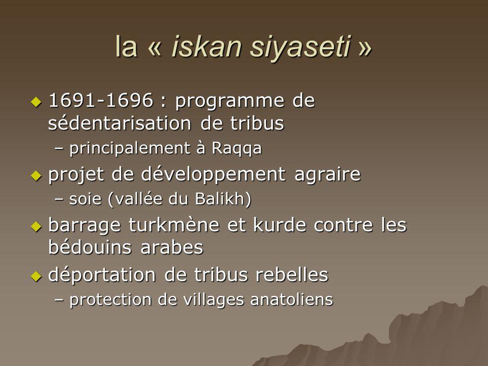 la « iskan siyaseti »  1691-1696 : programme de sédentarisation de tribus –principalement à Raqqa  projet de développement agraire –soie (vallée du Balikh)  barrage turkmène et kurde contre les bédouins arabes  déportation de tribus rebelles –protection de villages anatoliens