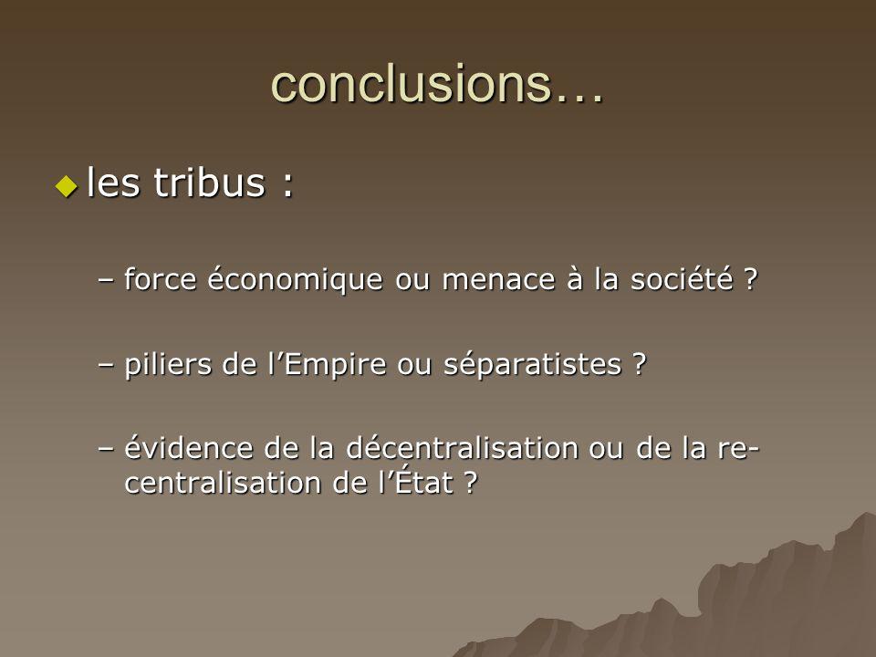 conclusions…  les tribus : –force économique ou menace à la société ? –piliers de l'Empire ou séparatistes ? –évidence de la décentralisation ou de l