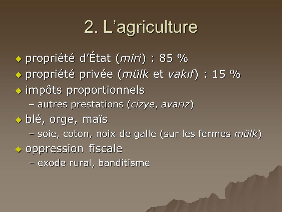 2. L'agriculture  propriété d'État (miri) : 85 %  propriété privée (mülk et vakıf) : 15 %  impôts proportionnels –autres prestations (cizye, avarız