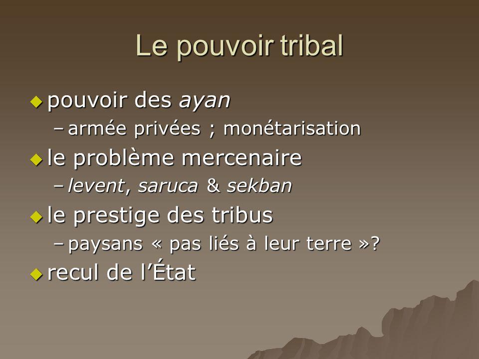 Le pouvoir tribal  pouvoir des ayan –armée privées ; monétarisation  le problème mercenaire –levent, saruca & sekban  le prestige des tribus –paysa