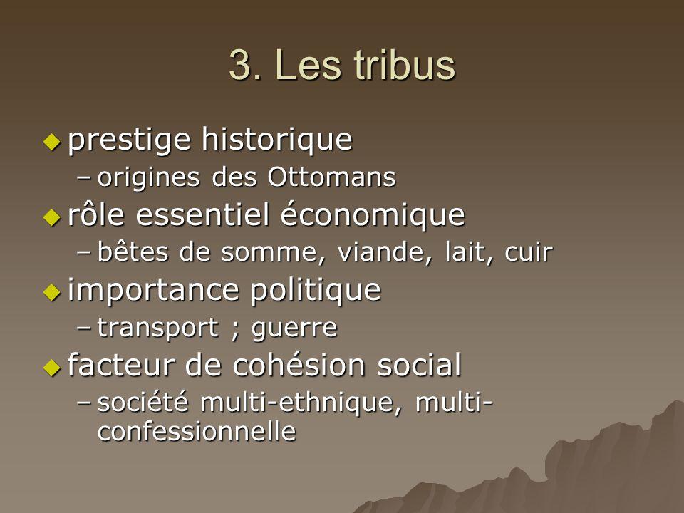 3. Les tribus  prestige historique –origines des Ottomans  rôle essentiel économique –bêtes de somme, viande, lait, cuir  importance politique –tra