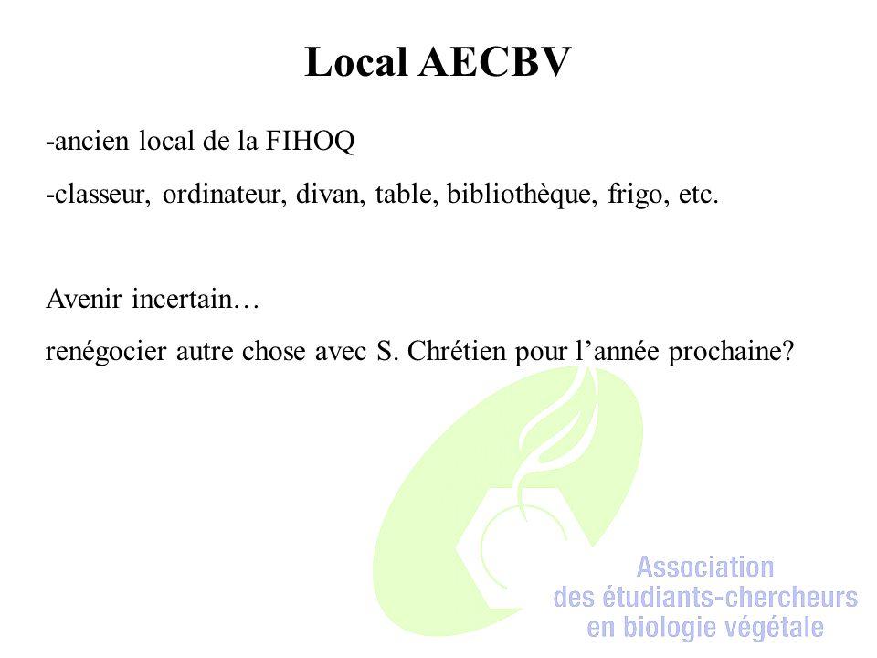 Local AECBV -ancien local de la FIHOQ -classeur, ordinateur, divan, table, bibliothèque, frigo, etc.