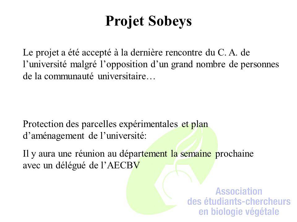Projet Sobeys Protection des parcelles expérimentales et plan d'aménagement de l'université: Il y aura une réunion au département la semaine prochaine avec un délégué de l'AECBV Le projet a été accepté à la dernière rencontre du C.