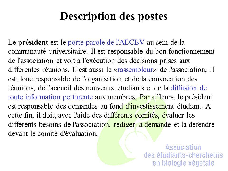 Description des postes Le président est le porte-parole de l AECBV au sein de la communauté universitaire.