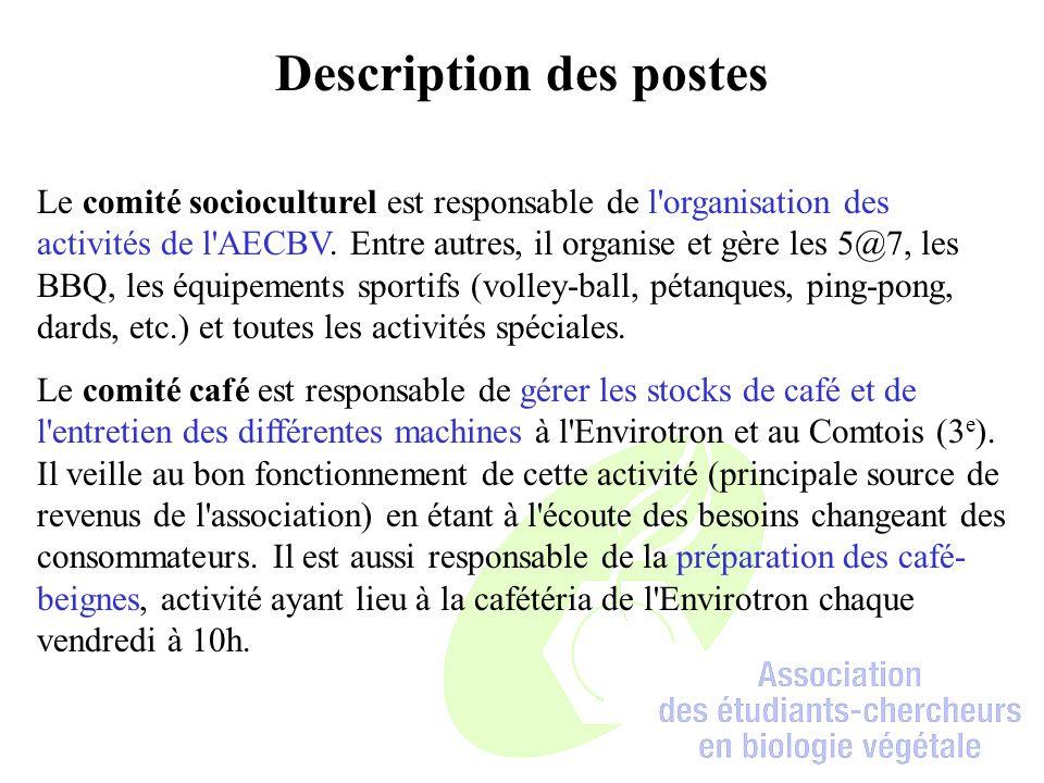 Description des postes Le comité socioculturel est responsable de l organisation des activités de l AECBV.