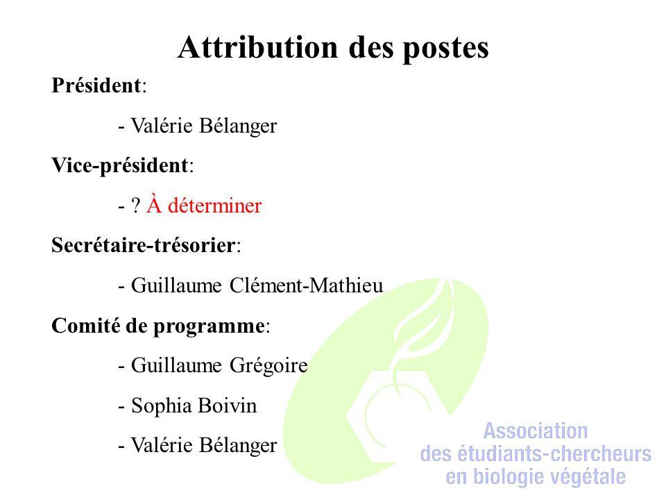 Attribution des postes Président: - Valérie Bélanger Vice-président: - .