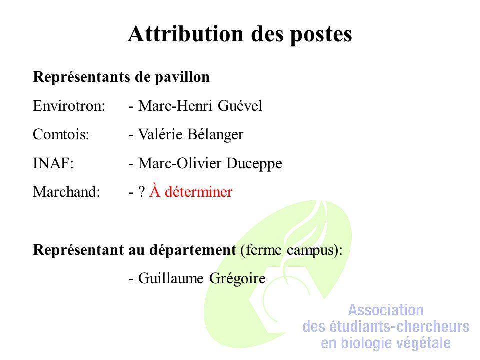 Attribution des postes Représentants de pavillon Envirotron:- Marc-Henri Guével Comtois:- Valérie Bélanger INAF:- Marc-Olivier Duceppe Marchand:- .