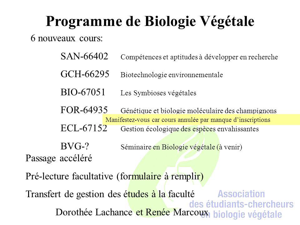 Programme de Biologie Végétale 6 nouveaux cours: SAN-66402 Compétences et aptitudes à développer en recherche GCH-66295 Biotechnologie environnementale BIO-67051 Les Symbioses végétales FOR-64935 Génétique et biologie moléculaire des champignons ECL-67152 Gestion écologique des espèces envahissantes BVG-.