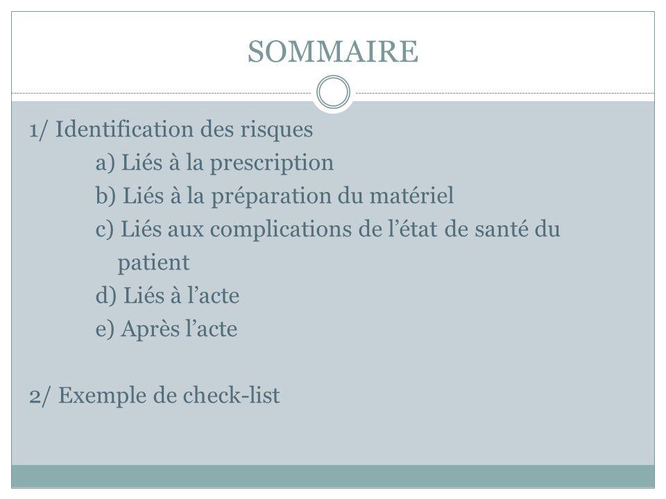 SOMMAIRE 1/ Identification des risques a) Liés à la prescription b) Liés à la préparation du matériel c) Liés aux complications de l'état de santé du