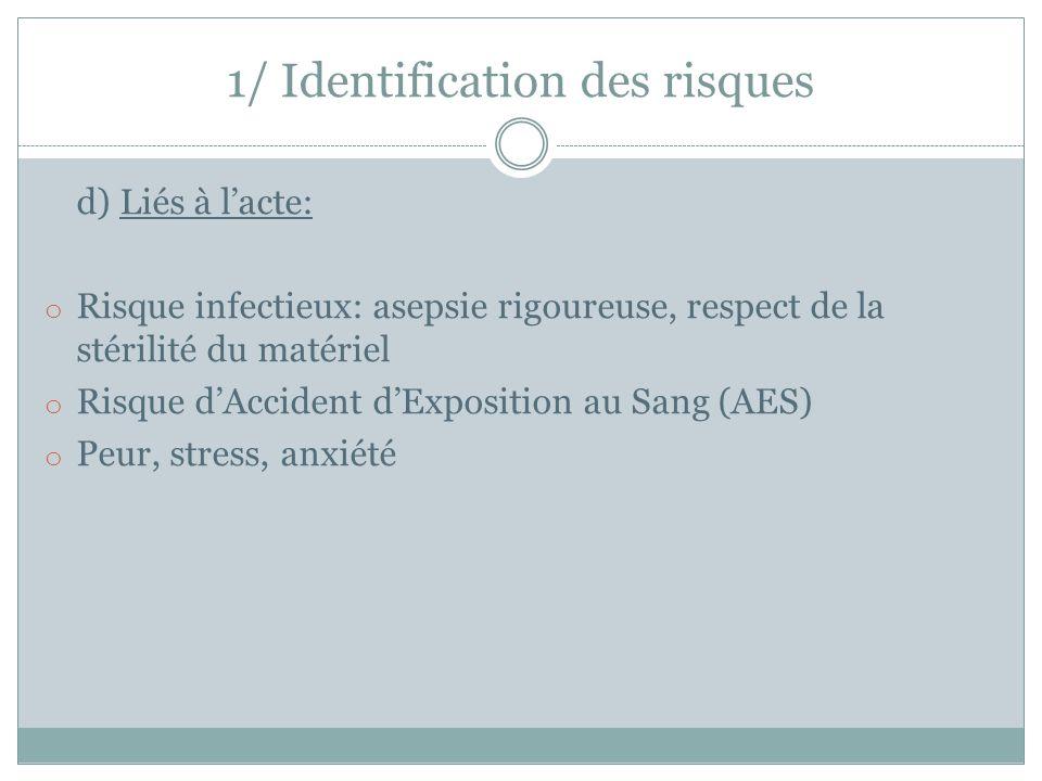 d) Liés à l'acte: o Risque infectieux: asepsie rigoureuse, respect de la stérilité du matériel o Risque d'Accident d'Exposition au Sang (AES) o Peur,