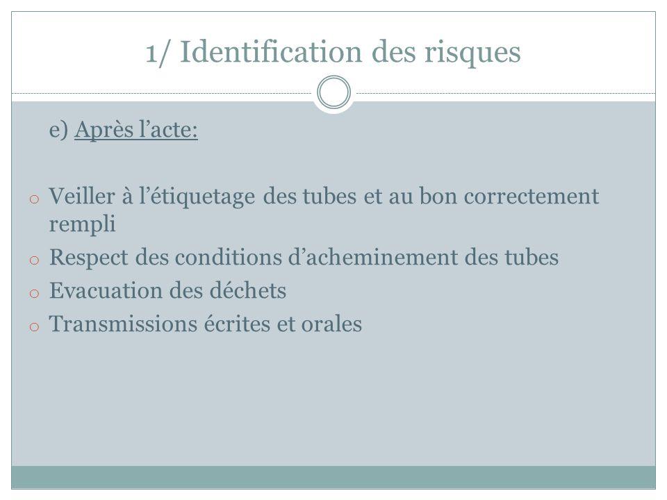 e) Après l'acte: o Veiller à l'étiquetage des tubes et au bon correctement rempli o Respect des conditions d'acheminement des tubes o Evacuation des d