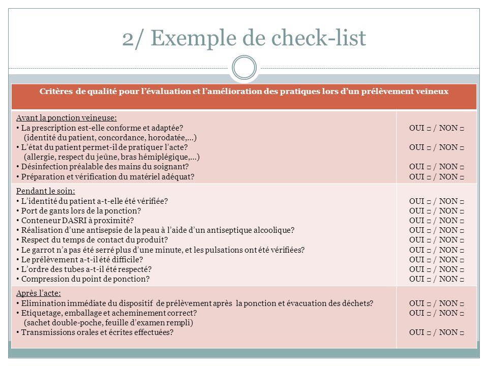 2/ Exemple de check-list Critères de qualité pour l'évaluation et l'amélioration des pratiques lors d'un prélèvement veineux Avant la ponction veineus