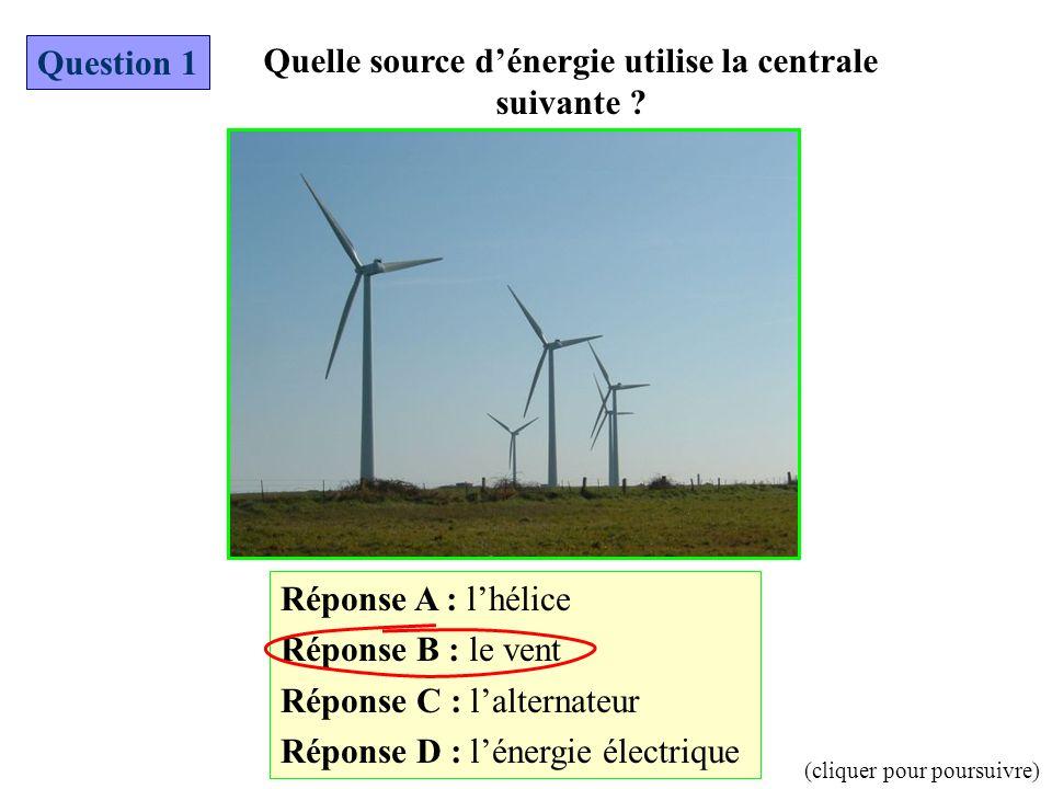 Réponse A : l'hélice Réponse B : le vent Réponse C : l'alternateur Réponse D : l'énergie électrique Question 1 Quelle source d'énergie utilise la cent