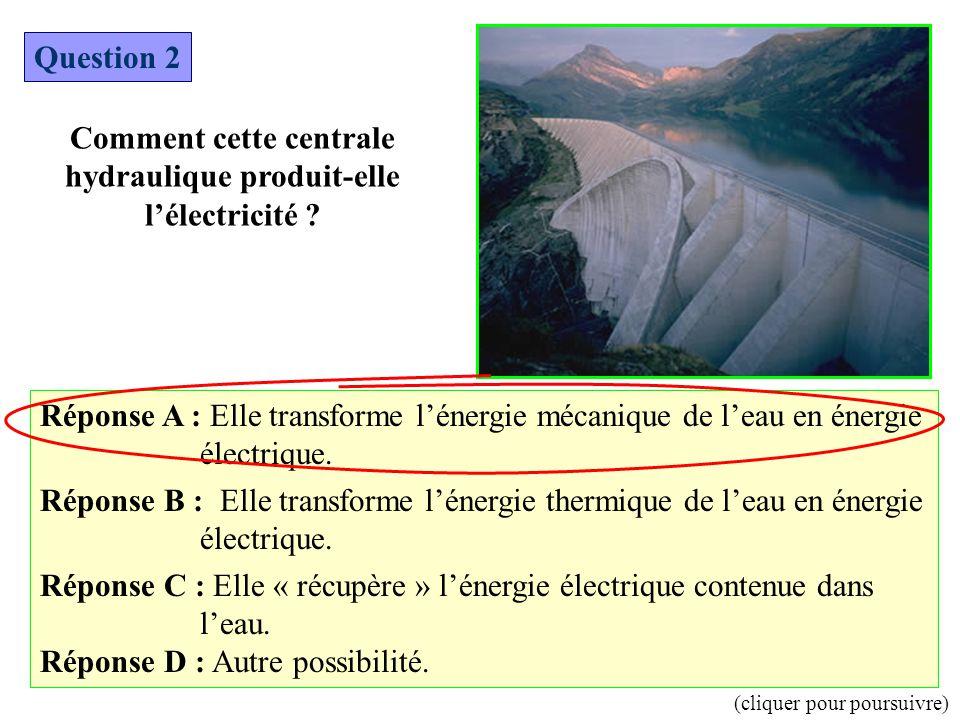 Question 2 Comment cette centrale hydraulique produit-elle l'électricité ? Réponse A : Elle transforme l'énergie mécanique de l'eau en énergie électri