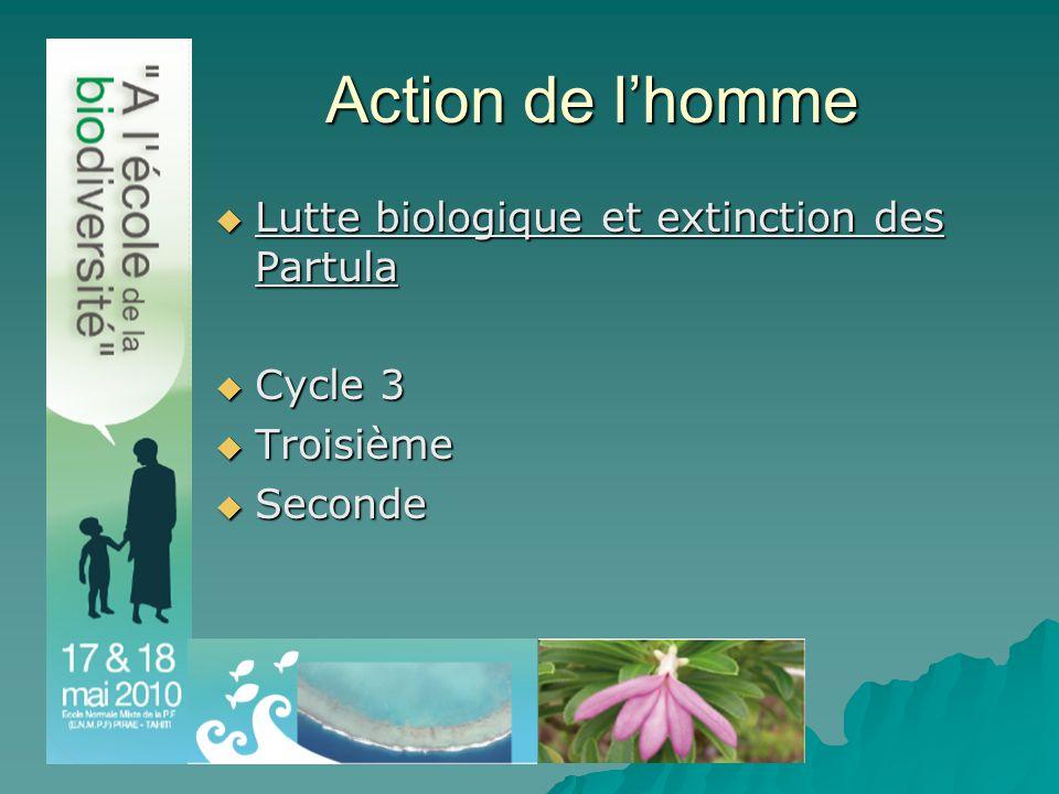 Action de l'homme  Lutte biologique et extinction des Partula  Cycle 3  Troisième  Seconde