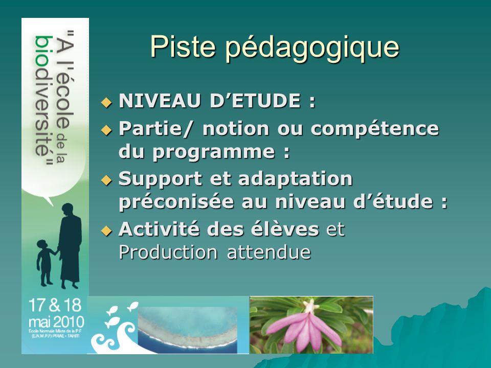 Piste pédagogique  NIVEAU D'ETUDE :  Partie/ notion ou compétence du programme :  Support et adaptation préconisée au niveau d'étude :  Activité des élèves et Production attendue